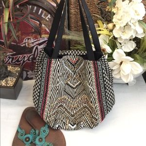 Black and white beaded ethnic print hobo bag